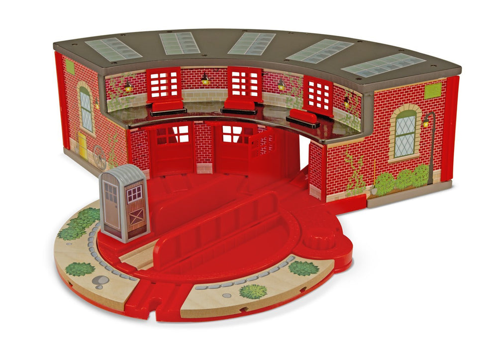 Melissa & Doug Deluxe Roundhouse & Turntable Set