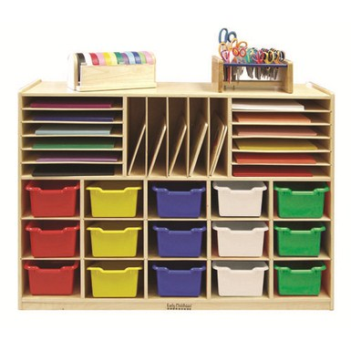 ECR4KIDS Multi Section Storage Cabinet with 15 Bins - Assorted