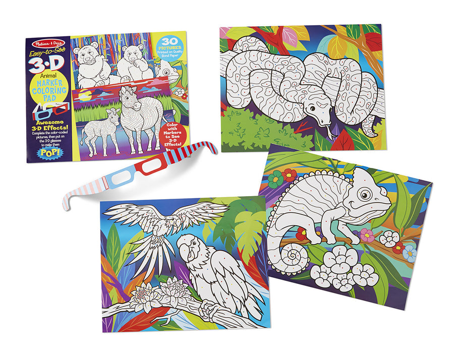 Melissa & Doug 3D Coloring Book - Animals — Bright Bean Toys