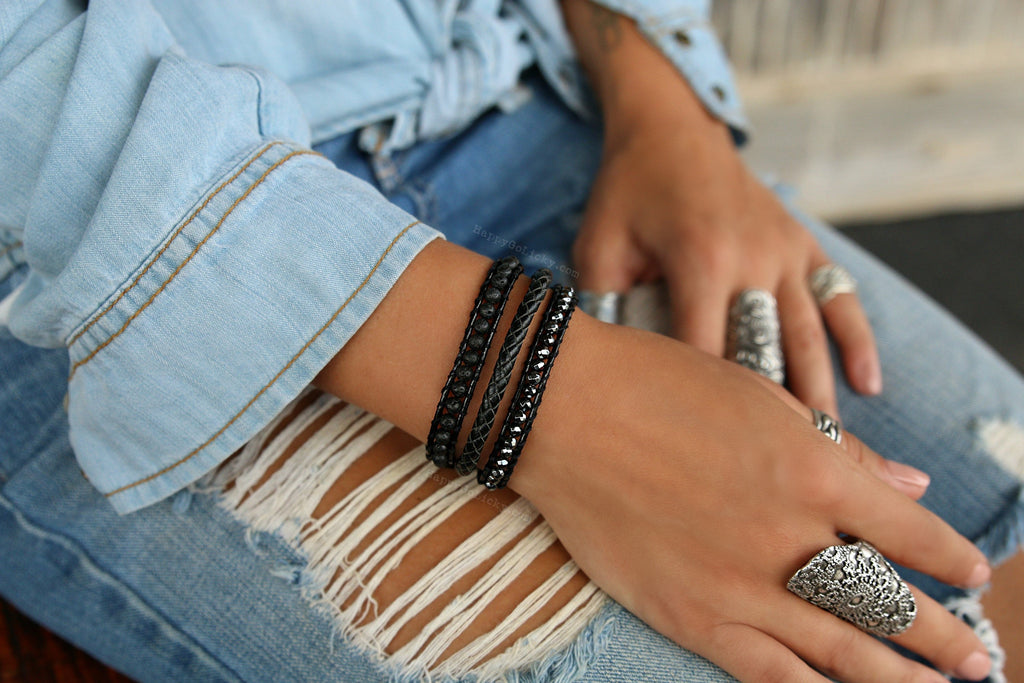 Boho Black Wrap Leather Bracelet