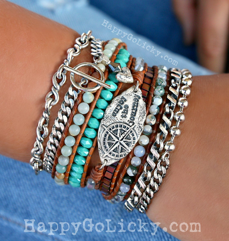 5X Wrap Boho Bracelet Bohemian Leather Wrap Bracelet