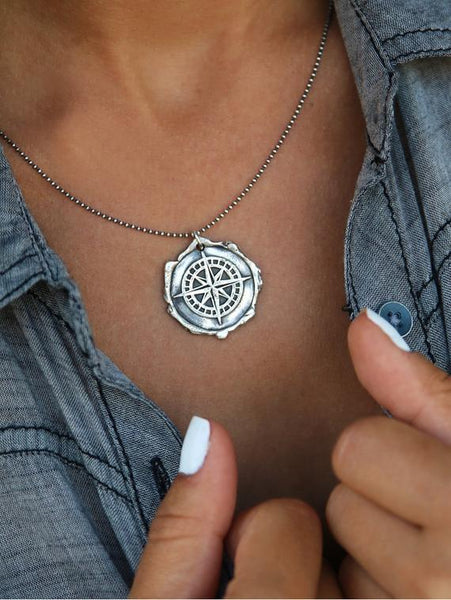 Compass Wax Seal Handmade Necklace