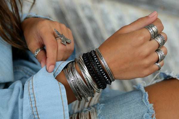 Boho Black Wrap Leather Bracelet - HappyGoLicky Jewelry