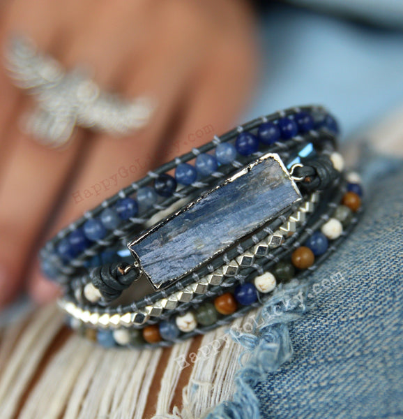 Boho Jewelry Kyanite Leather Wrap Bracelet - HappyGoLicky Jewelry