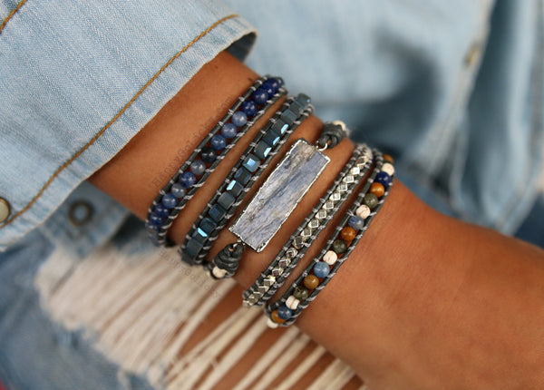 Blue Kyanite Bracelet - HappyGoLicky Jewelry