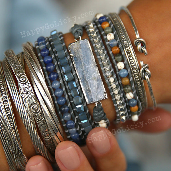 Boho Wrap Bracelet Kyanite and Sterling Silver - HappyGoLicky Jewelry