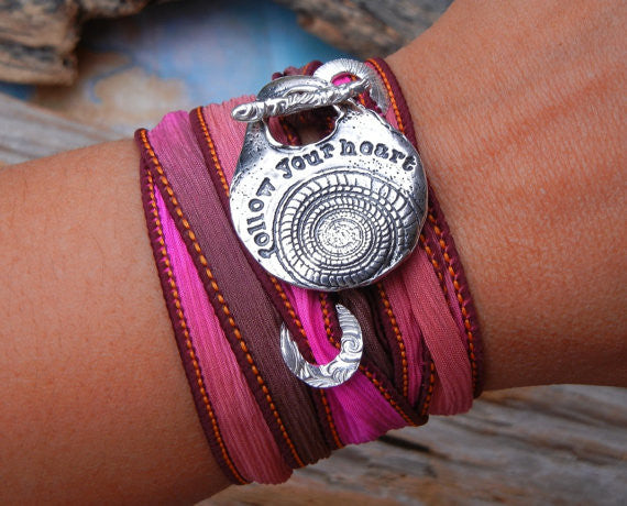 Follow Your Heart Silk Wrap Bracelet
