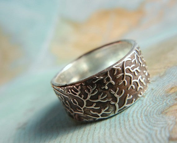 Coral Reef Wide Band Ring - HappyGoLicky Jewelry