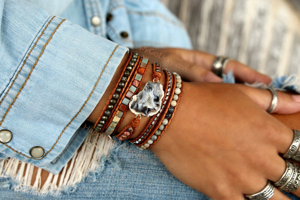 Boho Leather Wrap Bracelet by HappyGoLicky Jewelry
