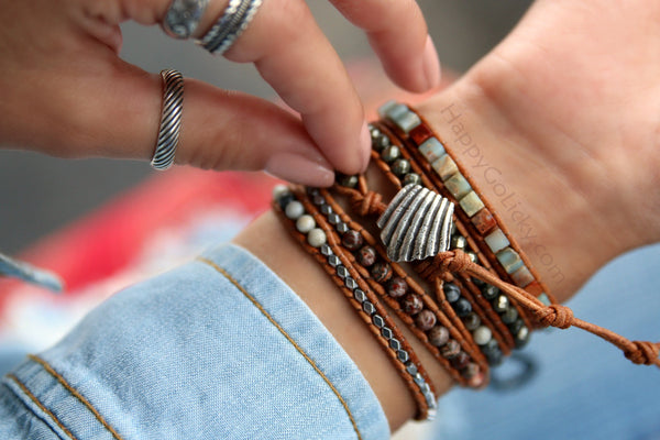 HappyGoLicky Leather Boho Wrap Bracelets in Sterling Silver