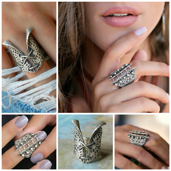 Boho Lace Sterling Silver Ring - HappyGoLicky Jewelry