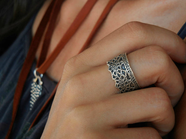 Silver Lace Ring, Silver Crown Ring - HappyGoLicky Jewelry