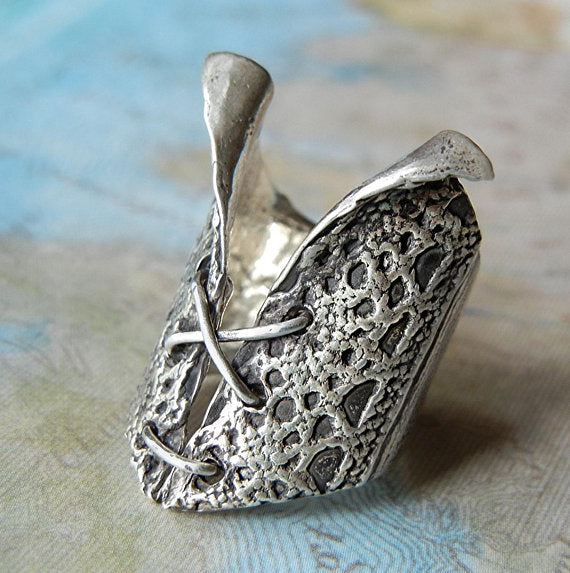 Sterling Silver Bustier Ring - HappyGoLicky Jewelry