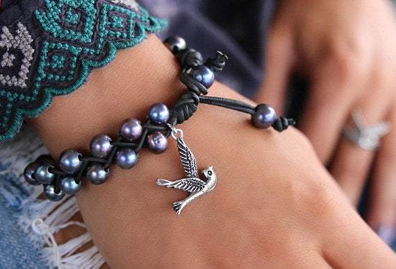 Pearl & Leather Bracelet with Sterling Silver Bird Charm - HappyGoLicky Jewelry