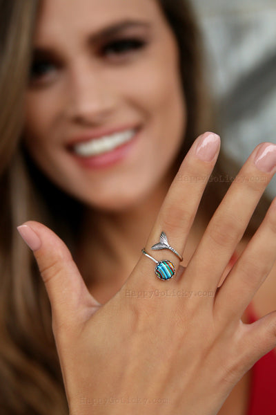 Sterling Silver Mermaid SURFITE Ring - HappyGoLicky Jewelry