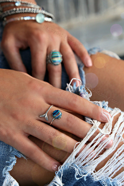 SURFITE Rings Nautical Jewelry Mermaids Tail- HappyGoLicky