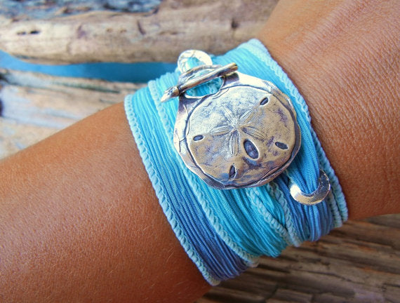 Sand Dollar Silk Wrap Beach Bracelet - HappyGoLicky Jewelry