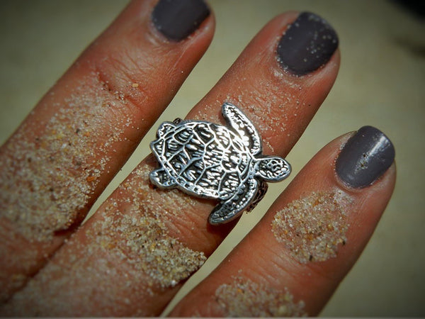 Sterling Silver Sea Turtle Ring - HappyGoLicky Jewelry