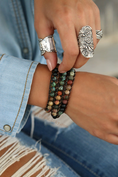 Rustic Shell Triple Wrap Bracelet - HappyGoLicky Jewelry