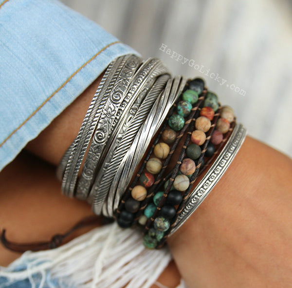 Matte Stone Beaded Leather Wrap Bracelet - HappyGoLicky Jewelry