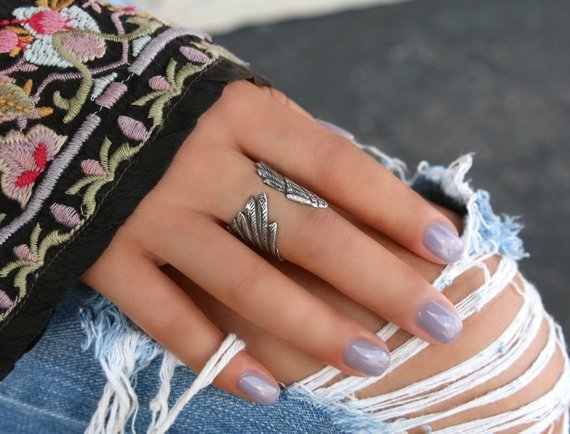 Silver Angel Wing Ring