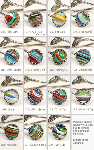 Recycled Surfboard Resin Ring Faux Gemstone Options - HappyGoLicky Jewelry