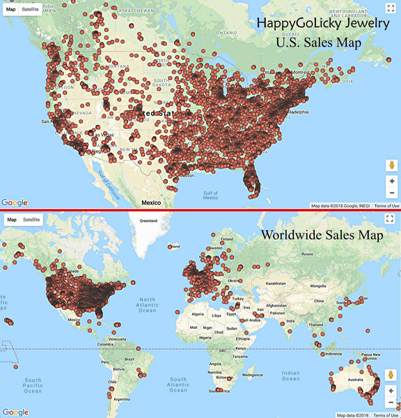 HappyGoLicky Jewelry Sales Map