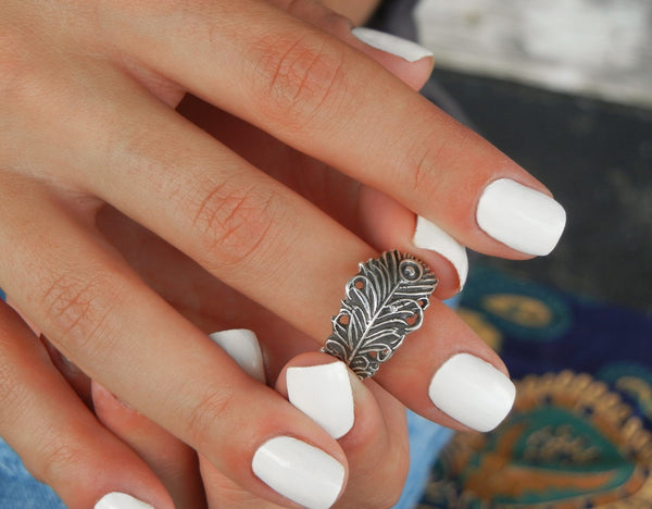 Unique Silver Peacock Feather Ring - HappyGoLicky Jewelry