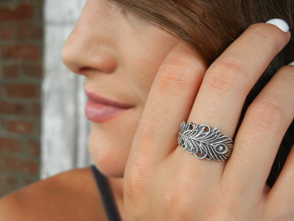 Lucky Peacock Feather Ring - HappyGoLicky Jewelry