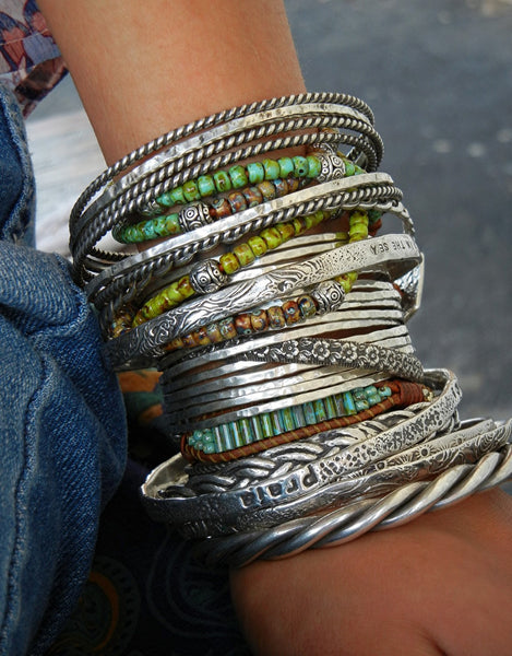 Sterling Silver 14 Stacking Cuff Bracelets - HappyGoLicky Jewelry