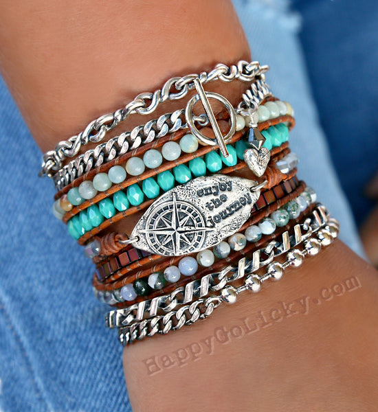 Boho Bracelet Stack in Sterling Silver by HappyGoLicky Jewelry