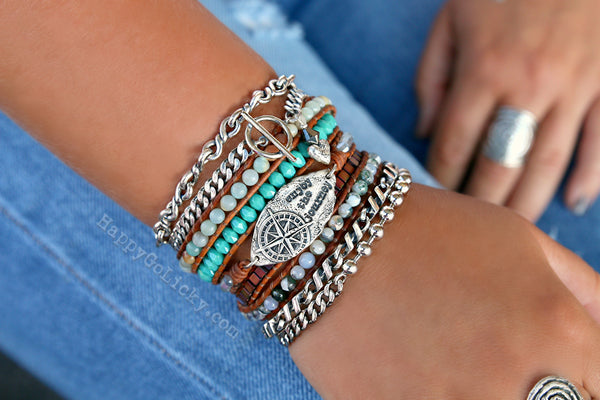 Leather Boho Wrap Bracelet Stack by HappyGoLicky Jewelry