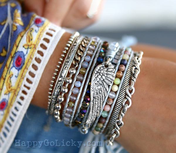Sterling Silver Bracelet Boho Jewelry by HappyGoLicky Jewelry