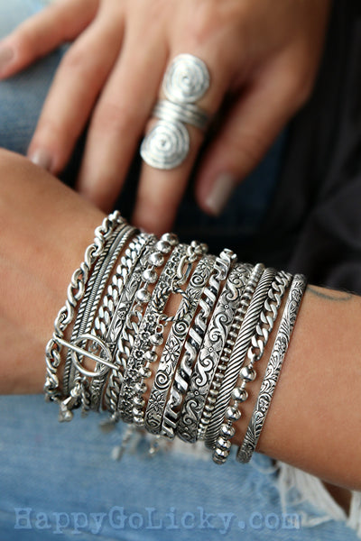 sterling silver cuff bracelets and stacking bracelets by HappyGoLicky Jewelry