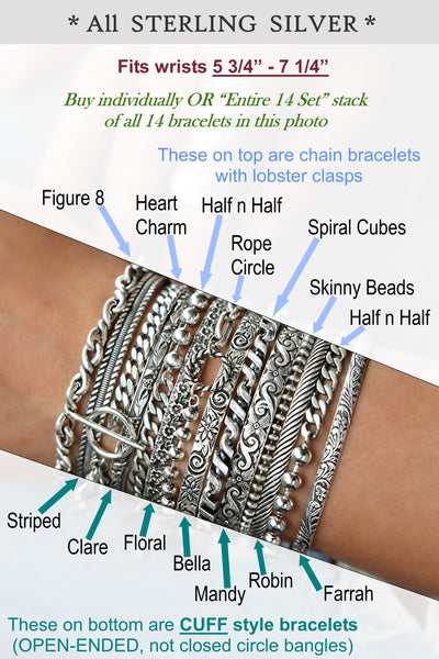 stacking silver bracelets and boho jewelry by HappyGoLicky