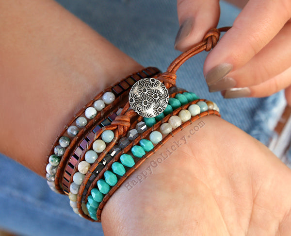 Boho Bracelet Leather Wraps by HappyGoLicky Jewelry