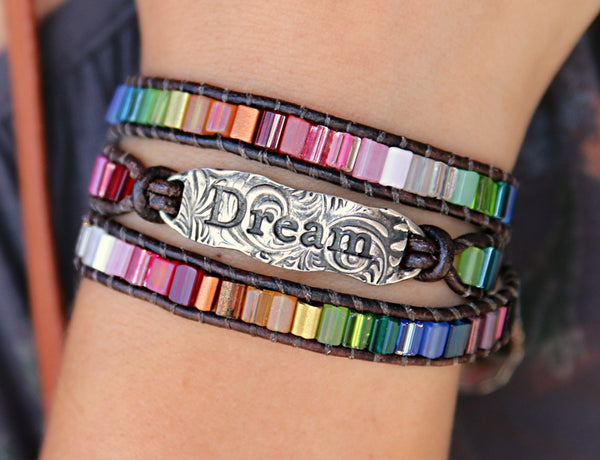 Dream Boho Jewelry Leather Wrap Bracelet - HappyGoLicky Jewelry