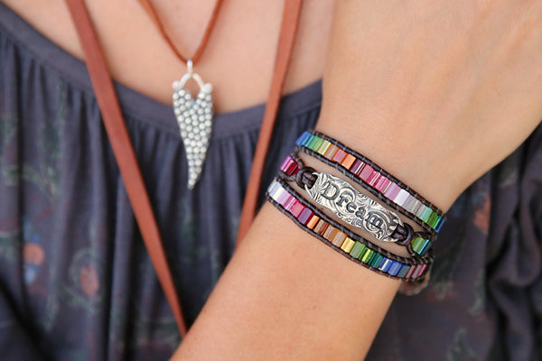 Dream Leather Wrap Bracelet - HappyGoLicky Jewelry
