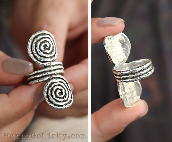 HappyGoLicky Jewelry Sterling Silver Boho Ring Double Spiral Ring