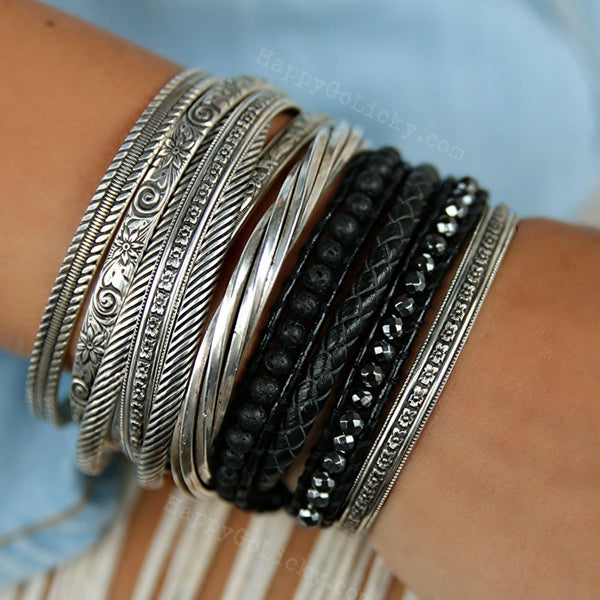 Black Boho Wrap Leather Bracelet