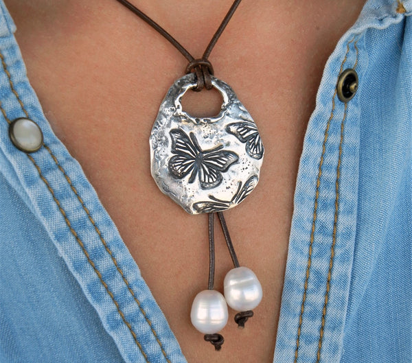Butterflies Leather & Pearl Necklace - HappyGoLicky Jewelry