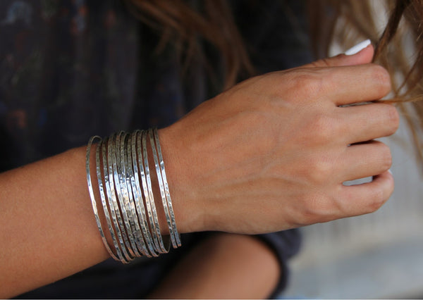 Handmade Sterling Silver Stacking Bracelets Cuff