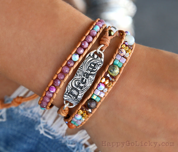 Boho Beaded Leather Wrap Bracelet by HappyGoLicky Jewelry