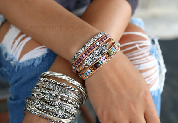 Boho Beaded Stacking Bracelets by HappyGoLicky Jewelry