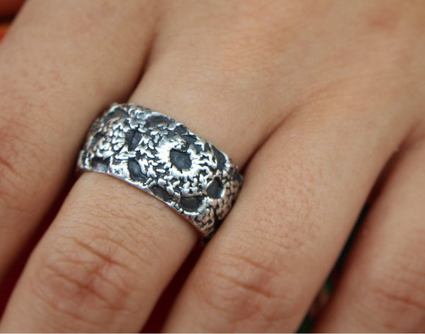 Crochet Silver Ring - HappyGoLicky Jewelry