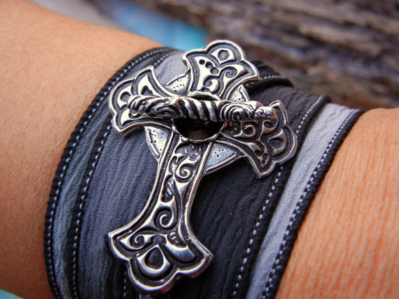 Sideways Cross Silk Wrap Bracelet