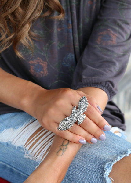 Eagle Bohemian Silver Ring - HappyGoLicky Boho Chic Jewelry