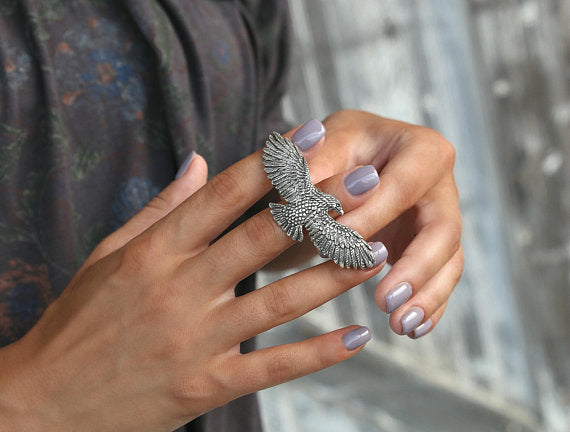 3 Finger Bohemian Silver Ring - HappyGoLicky Boho Chic Fashion Jewelry
