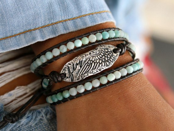 "Amazonite ""fly"" Wrap Leather Bracelet"
