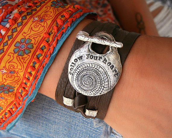 Leather Wrap Hippie Bracelet - HappyGoLicky Jewelry